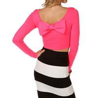 Neon Bow Back Crop