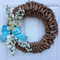 Spring Burlap Ribbon Wreath with Blue Lace Bow & Cascading Flowers ; Summer Burlap Ribbon Wreath ; Blue and White Wreath ; Mother's Day Gift