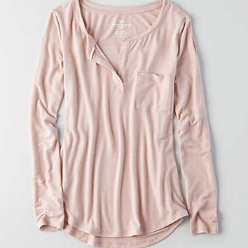 AEO Long Sleeve Henley T-Shirt , Pink