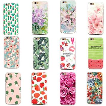 Soft TPU Thin Case Cover for iphone 4/4S 5/5S/SE 6/6S 7/7 plus Flowers Daisy Plants Fruit Cactus pattern Funda Phone Case Cover