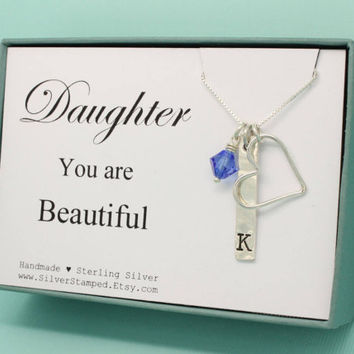 Gift for Daughter Necklace, 925 Sterling Silver Initial birthstone Bar necklace, daughter birthday graduation gift, You are beautiful