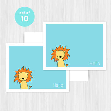 Lion Hello Greeting Card Set Blank Handmade Notecards Note Cards Notes Boxed Set Stationery Gifts For Friend Her Teacher Hostess Pack of 10