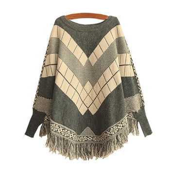 Women's Ethnic Knit Red Bat Sleeve Sweater Cape