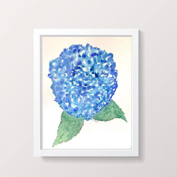 Watercolor Hydrangea Floral Painting, Original Botanical, watercolor flower Painting, Blue painting, floral artwork, blue painting, Pretty