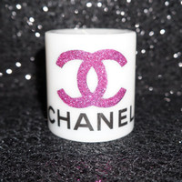 Pink White and Black CC Coco Chanel Candle