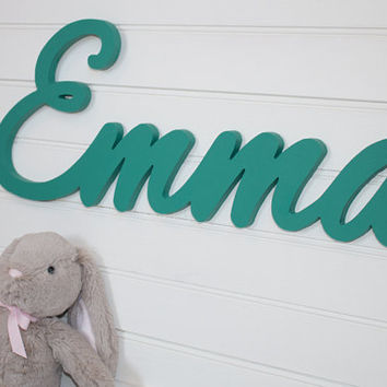 nursery name sign Name Plaque Large PAINTED photo prop Personalized baby name wall hanging nursery decor wooden wall art above a crib