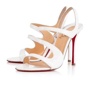 Christian Louboutin Cl Vavazou Latte Patent Leather 18w Sandals 3180456wha8 -