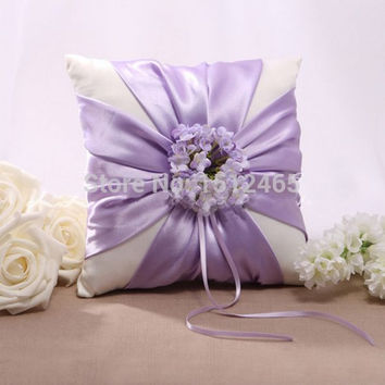 Free shipping,New style Cream and purple Lilac Floral Satin Wedding Ring Pillow Wedding Ceremony Stuff Accessories JZ41