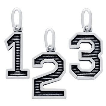 """.925 Sterling Silver Nickel Free Oxidized Number """"""""2"""""""" Charm"""