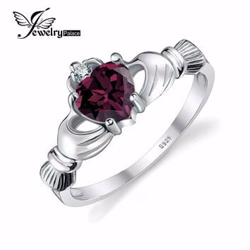 JEWELRYPALACE ALEXANDRITE SAPPHIRE IRISH CLADDAGH RING SOLID 925 STERLING SILVER FRIENDSHIP LOVE HEART JEWELRY JUNE BIRTHSTONE