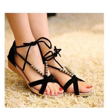 Slip On Cross Strap V-shaped Women's Flat Sandals