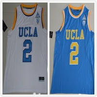 2017 UCLA Bruins #2 Lonzo Ball College Basketball Jersey White Blue Bruins Lonzo Jersey Accept Mix Orders