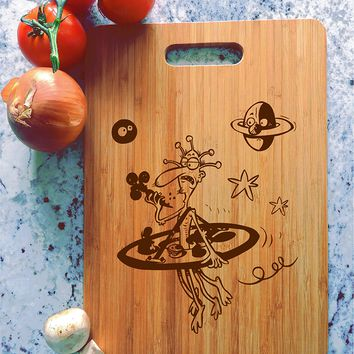 ikb601 Personalized Cutting Board funny alien gift vegan cuisine