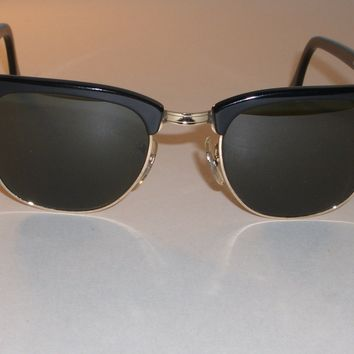 1970's 49MM VINTAGE B&L RAY BAN W0365 BLACK G15 UV CLUBMASTER SUNGLASSES MINT
