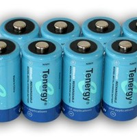 8 pcs of Tenergy D Size 10,000mAh High Capacity High Rate NiMH Rechargeable Batteries