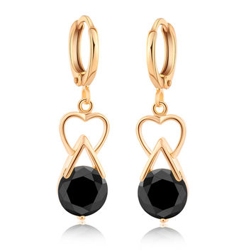 Luxurious Heart Zircon Earrings   gold plated black zircon