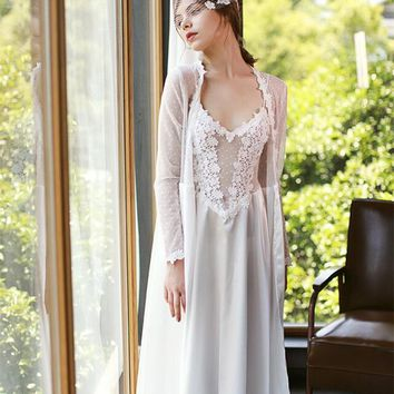 Sexy Robe Bridal Lace Robe Set Romantic Robe For Women Lace Gowns Wedding White Robe
