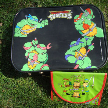 TMNT Ninja Turtles Luggage Bag and Hand Bag 1989 Vintage Teenage Mutant Ninja Turtles