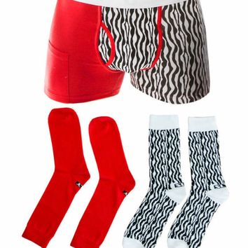 Sly Red & Black Urban Zoo Boxer Brief & Sock Pack
