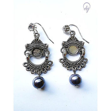 Moroccan Metal and Grey Bead Earrings  - British (UK) Jewellery Designer- No Delivery Charges to all Customers