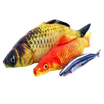 Creative cat Mint fish Pet simulation of plush Cat toy fish Teasing cat toys Crucian carp The cat pillow carp