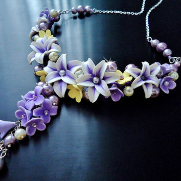 Lily necklace, Choker necklace, Wedding Jewelry, purple and yellow flower necklace, Polymer clay Jewelry, handmade jewelry