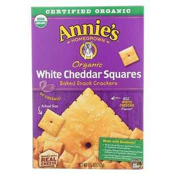 Annie's Homegrown Cheddar Squares White Cheddar Squares - Case Of 12 - 7.5 Oz