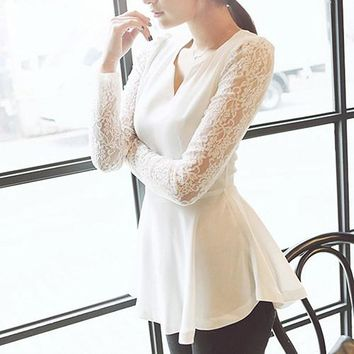 New Arrival Women's Elegant Hollow Lace Long Sleeve V-Neck Party Blouse Peplum Shirt Top
