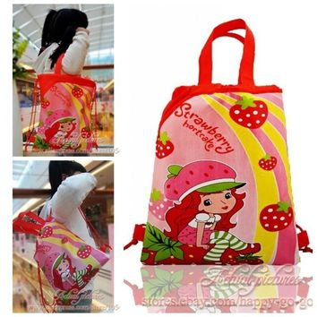 1PCS Strawberry Shortcake Children Drawstring Backpacks School Shopping Bags 34*27CM Non Woven Fabrics Kids Birthday Party Gift
