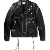 Saint Laurent - Slim-Fit Leather Motorcycle Jacket