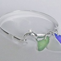 Dolphin Bangle with Sea Glass