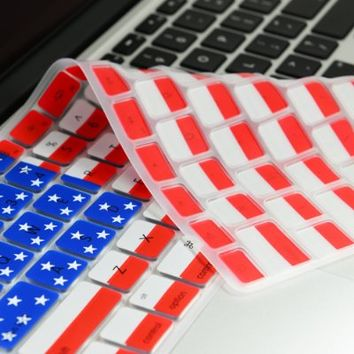 """TopCase FLAG Keyboard Silicone Cover Skin for MacBook Pro 13"""" 15"""" 17"""" Aluminum Unibody (with or w/out Retina Display) iMac and MacBook 13"""" + TopCase Mouse Pad (US)"""
