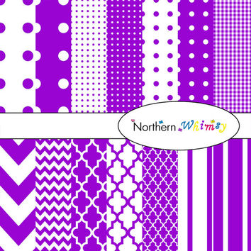 Digital Scrapbooking Paper Background Set – bright purple patterns – chevron , quatrefoil , polka dot , gingham , stripe , INSTANT DOWNLOAD