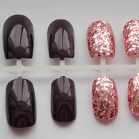 Deep Burgandy and Pink Glitter Fake Nails - False, Artificial, Acrylic, Press-On