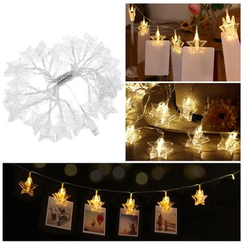 NEW LED STAR Shaped Photo Clip Battery Operated String Lights