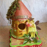 GRACE FAIRY COTTAGE, ooak, altered art, mixed media, assemblage, collage, fantasy, magic, enchanted, 3d, pixie, embellished