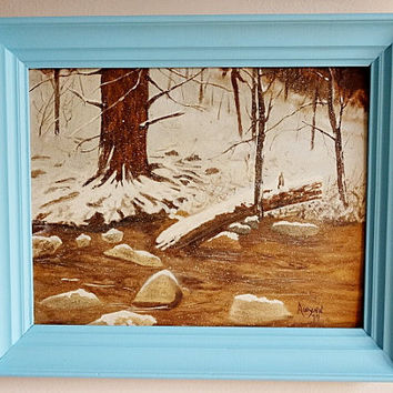 Vintage Painting on Board Winter Scene Framed in Painted Frame 1979 Signed
