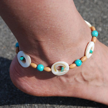 Anklet Beach Inspired with Shell Wood and Turquoise by chumaka