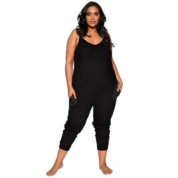 Sexy Supersoft Plus Size Gray Cosy Pajama Pocket Jumpsuit