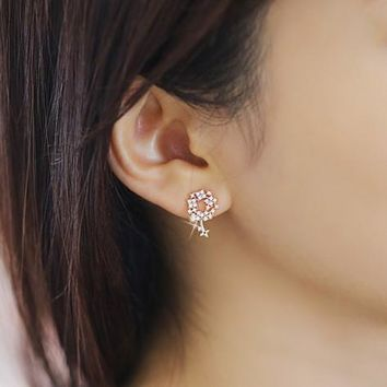 Gift Shiny Jewelry New Arrival Stylish Korean Sea 925 Silver Diamonds Rhinestone Earring Ring [6586099527]