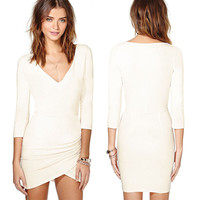 Cream V-Neck Ruched Bodycon Mini Dress