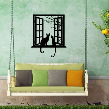 2018 Cats Vinyl Wall Sticker Home Decor For Living Room Cat Looking Though Window Art Mural Bedroom Decals Home Decor