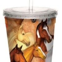 Tree-Free Greetings 80135 Horse Heads Collectible Art Double Wall Cool Cup with Straw, 16-Ounce, Multicolored