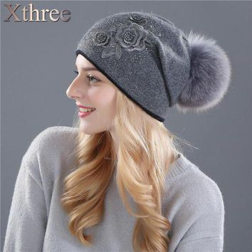 DCCKU62 Xthree women's winter hat Rabbit fur wool knitted hat the female of the mink hats for women beanies