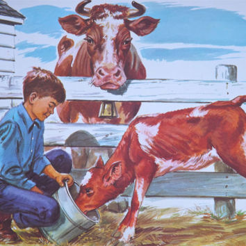 Vintage Teaching Pictures Farm Picture Cow Picture Farm Boy Vintage Classroom Poster