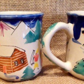 Folk art coffee mugs