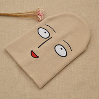 Hot Anime One Punch Man Bald Saitama Embroidered Funny Knitted Hat Women Men Winter Hats Cap Sport Beanies Warm Hat