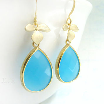 Blue Teardrop Earrings Gold Flower Earrings Glass Tear Drop Earrings Gold Plated Tiffany Blue