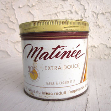 Vintage Matinee Tobacco Tin, Imperial Tobacco Matinee Brand Extra Fine Cigarette Tobacco, Collectible Advertising,  Vintage Tobacco Can