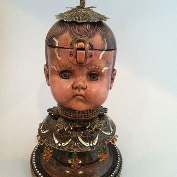 Antique Doll Head Steampunk Assemblage